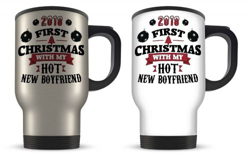 14oz 2018 First Christmas With My Hot New... Funny Novelty Gift Aluminium Travel Mug